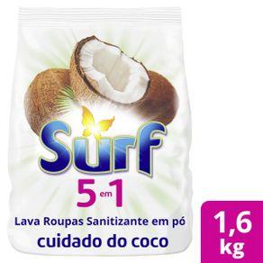 Sabão Lava Roupas Sanitizante em Pó Surf 5 em 1 Cuidado do coco 1.6kg